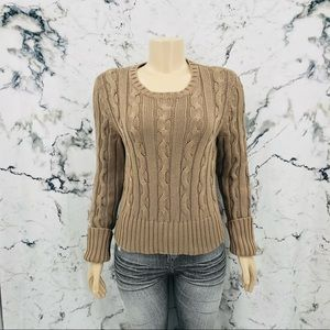 Calvin Klein Knit Ribbed Crew Neck Sweater Brown